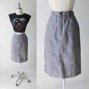 Vintage 80's Hickory Striped Denim Pencil Skirt S